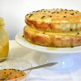 Poppy Seed Cake with Passionfruit Curd & Glaze